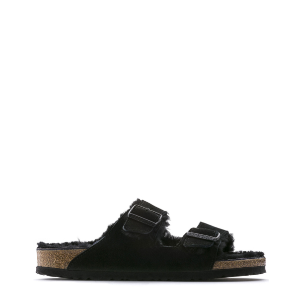 Birkenstock Womens Arizona Fur Black Suede