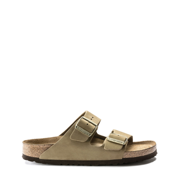 Birkenstock Womens Arizona Soft Footbed Nubuck Faded Khaki