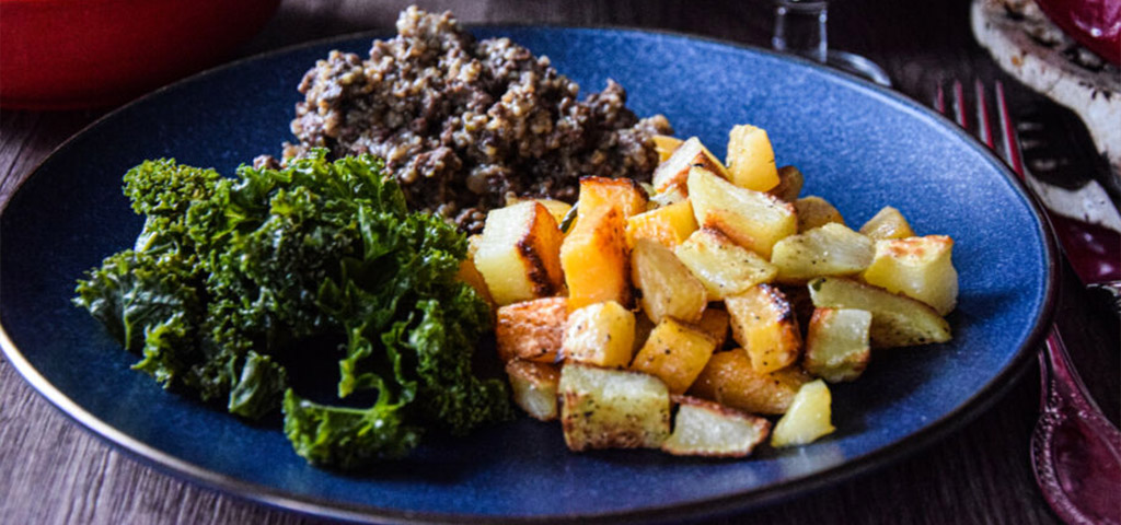 Traditional Burns Night Dish, Haggis, Broccoli and Potato Wedges