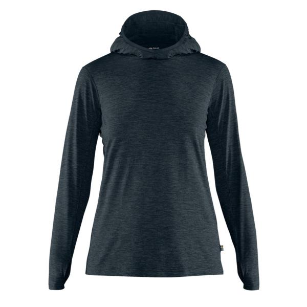 Fjallraven Womens Abisko Sun-Hoodie LS Hooded T-Shirt Navy