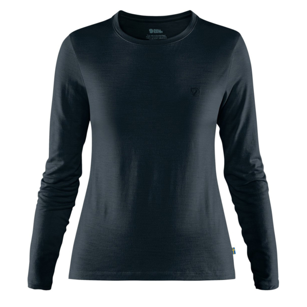 Fjallraven Womens Abisko Wool LS Base Layer T-Shirt Dark Navy