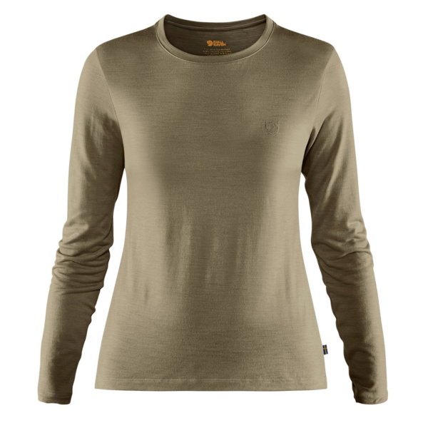 Fjallraven Womens Abisko Wool LS Base Layer T-Shirt Light Olive