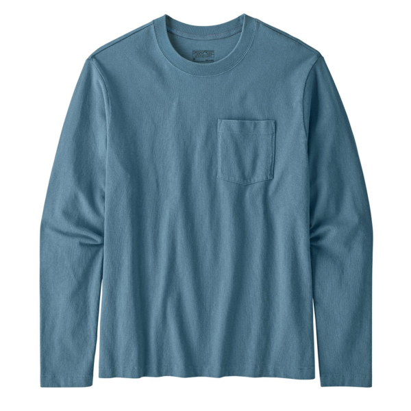 Patagonia Long Sleeved Organic Cotton Midweight Pocket Tee Pigeon Blue