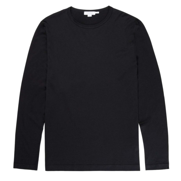 Sunspel Long Sleeve Crew Neck T-Shirt Black