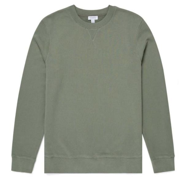 Sunspel Loopback Sweatshirt Light Khaki