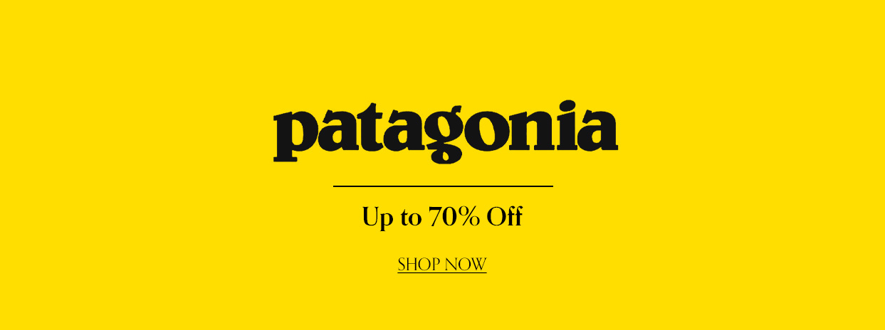 Patagonia Banner Up to 70% Off Black Text on Yellow Background.