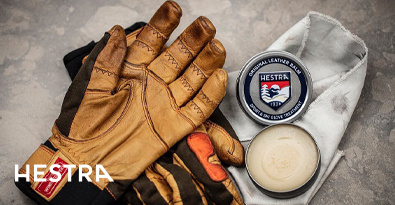 Pair of Hestra Gloves & Tin of Hestra Leather Glove Care Balm