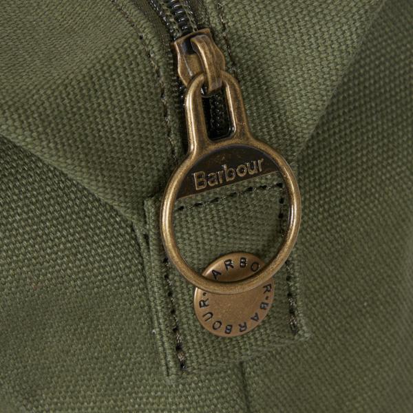 Barbour Benn Weekender Bag Khaki Aged Bronze Effect Zipper Pull
