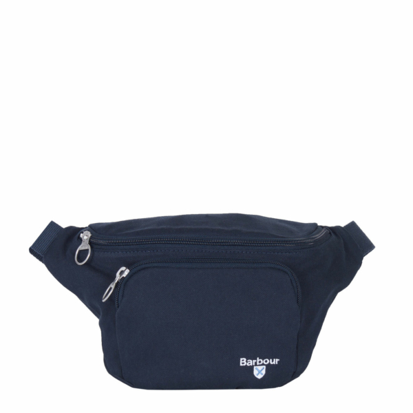 Barbour Cascade Sling Bag Navy Zipped Main Compartment and Front Pocket