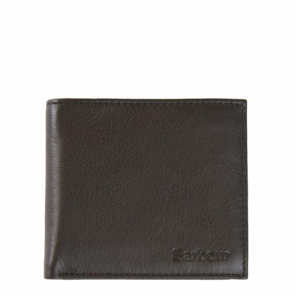 Barbour Colwell Leather Billfold Wallet Olive / Sage Tartan