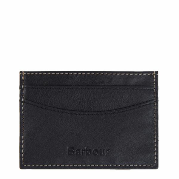 Barbour Elvington Leather Cardholder Black / Navy