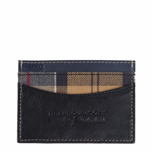 Barbour Elvington Leather Cardholder Black / Navy Tartan Trim and RFID protected