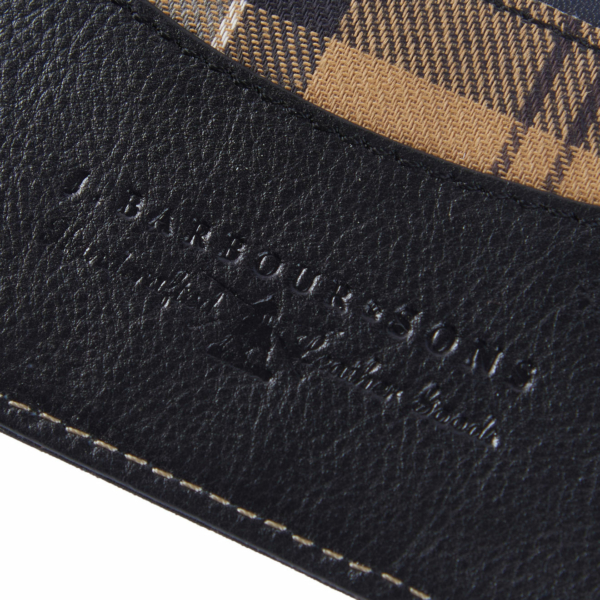 Barbour Elvington Leather Cardholder Black / Navy, Tartan Trim & Embossed Branding Interior