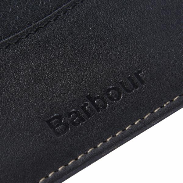 Barbour Elvington Leather Cardholder Black / Navy Embossed Branding Logo