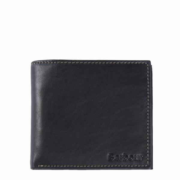 Barbour Elvington Leather Coin Billfold Wallet Black / Navy