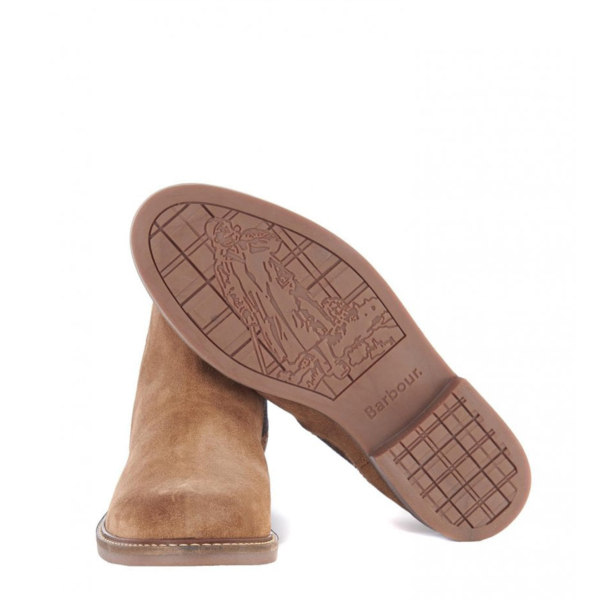 Barbour Farsley Chelsea Boot Sand Branded Walking Man Logo Sole Image