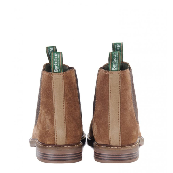 Barbour Farsley Chelsea Boot Sand With Branded Pull Loops & Cotton Canvas Heel Counter