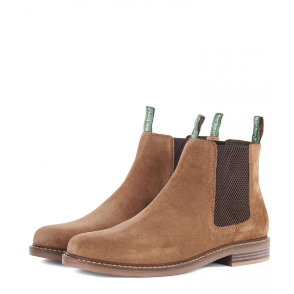 Pair Of Barbour Farsley Chelsea Boots Sand With Branded Pull Loops