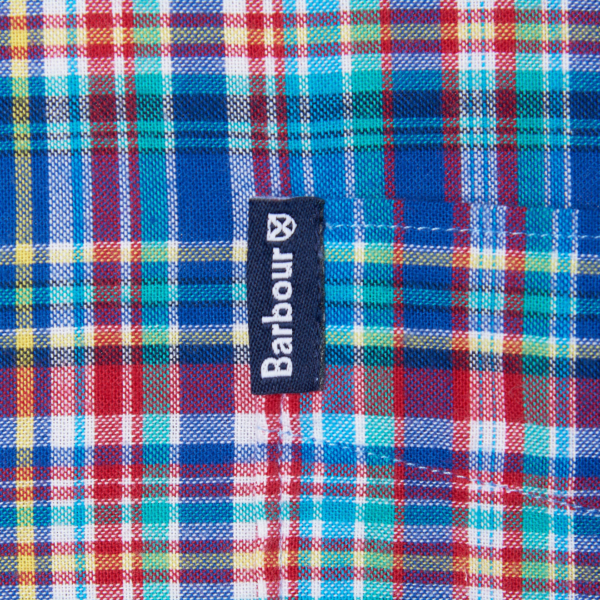 Barbour Highland Check 38 Tailored Fit Shirt Blue Barbour label tab on chest pocket