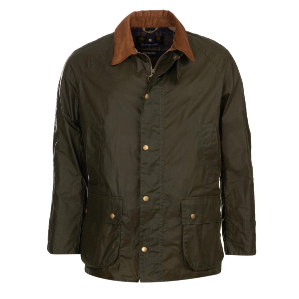 Barbour Lightweight Ashby Wax Jacket Archive Olive front Studded Fastenings