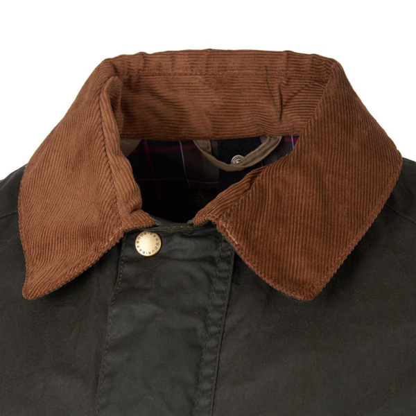 Barbour Lightweight Ashby Wax Jacket Archive Olive Needlecord Corduroy Lined Collar