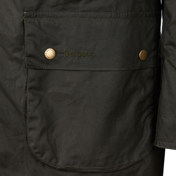 Barbour Lightweight Ashby Wax Jacket Archive Olive Barbour Embroidered Pocket Flap