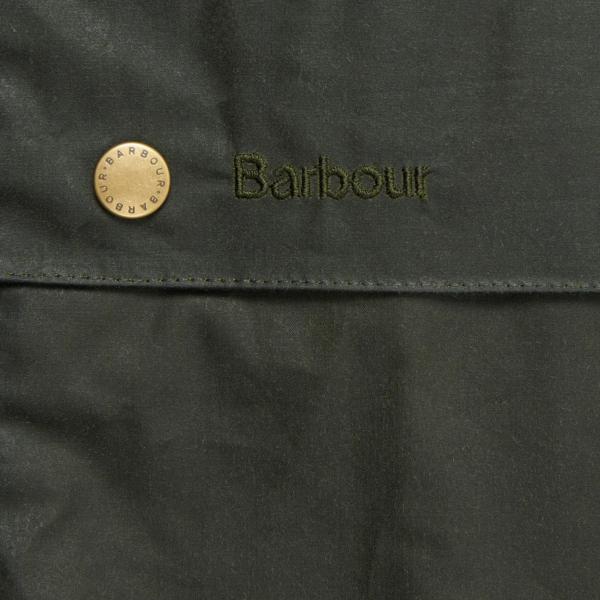 Barbour Lightweight Ashby Wax Jacket Archive Olive Stud Fastener & Branded Embroidery Emblem