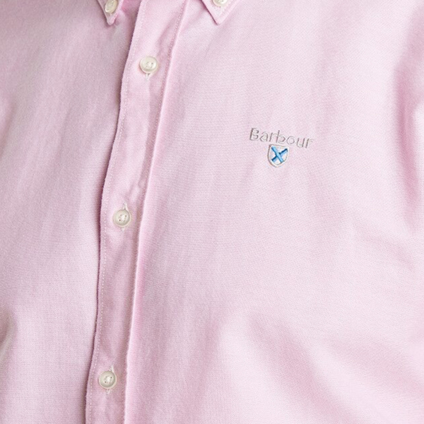 Barbour Oxford 3 L/S Tailored Shirt Pink Barbour flag Embroidery on Chest