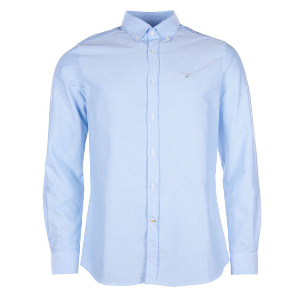 Barbour Oxford Weave 3 L/S Tailored Cotton Shirt Sky Button-Down Collar