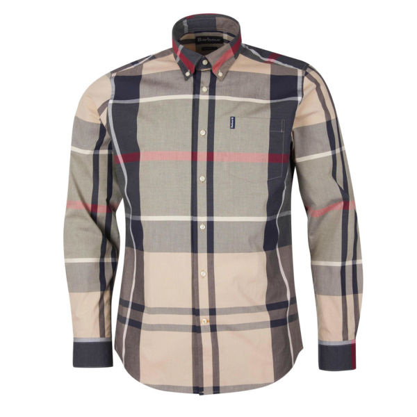 Barbour Tartan 12 Tailored Fit Shirt Stone Front 100% Cotton With Button-Down Collar