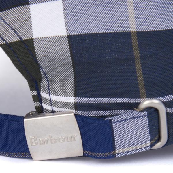 Barbour Tartan Sports Cap Sage Tartan Adjustable Strap With Branded Slider Fastening