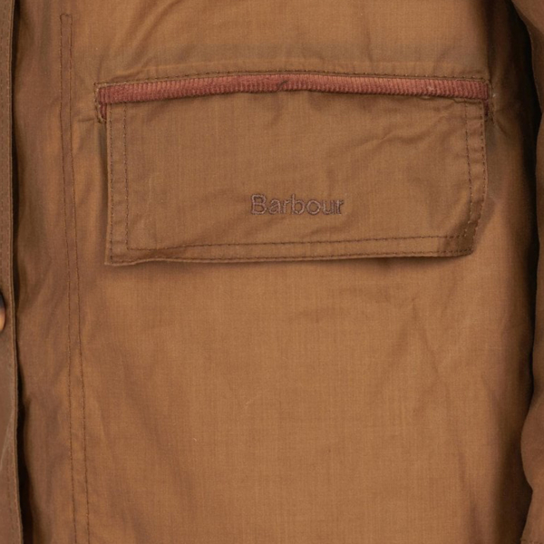 Barbour Womens Christie Wax Jacket Sand/Ancient Left Pocket With Embroidered Barbour Logo