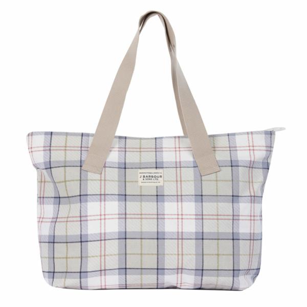 Barbour Womens Print Shopper Bag Mist Tartan