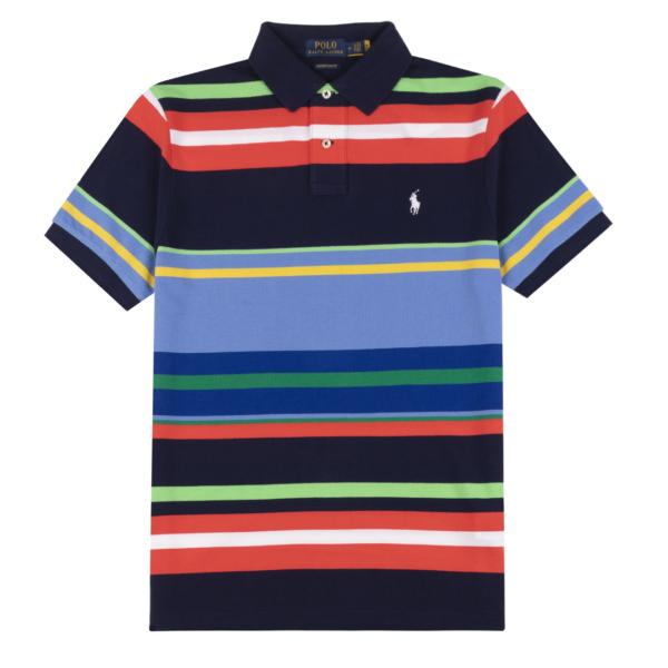 Polo Ralph Lauren Classic Fit Stripe Mesh Polo Newport Navy Multi