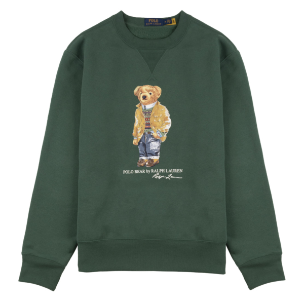 Polo Ralph Lauren Crew Bear Print Sweat Washed Forest