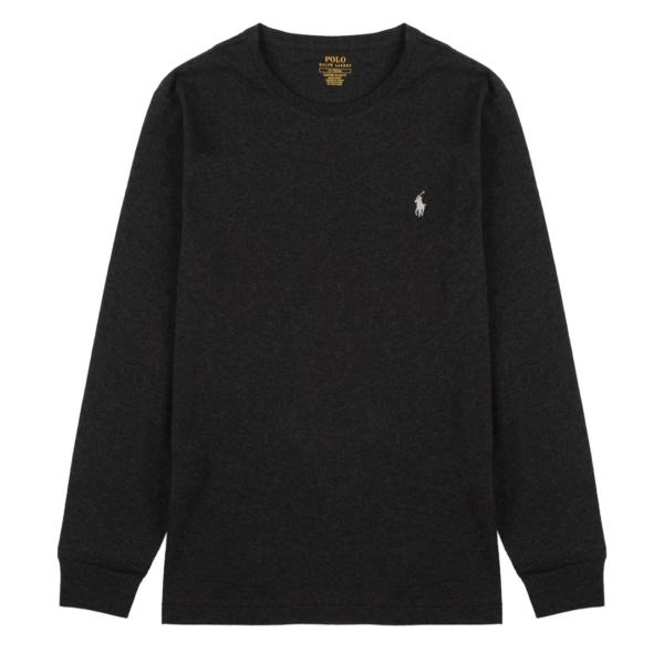 Polo Ralph Lauren Custom Slim Fit Cotton LS T-Shirt Black Heather