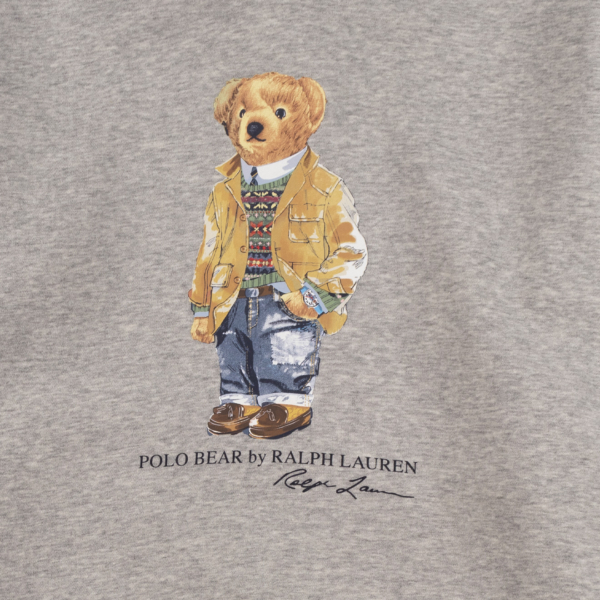 Polo Ralph Lauren Hooded Bear Print Sweat Andover Heather