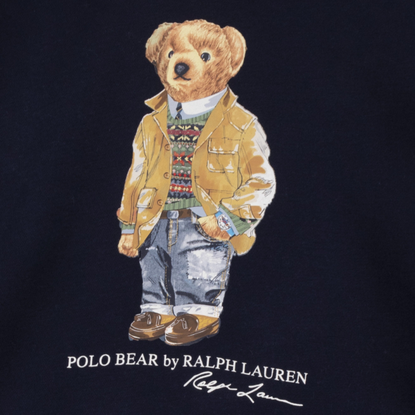 Polo Ralph Lauren Hooded Bear Print Sweat Cruise Navy