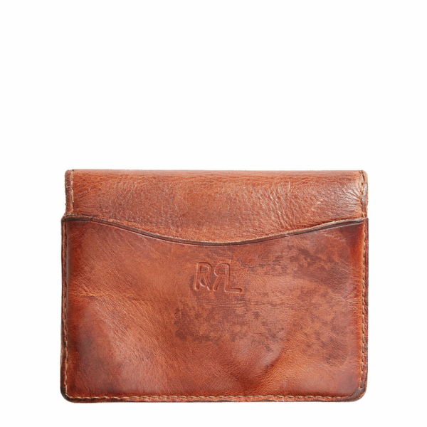 RRL by Ralph Lauren Concha Tumbled Leather Card Wallet Dark Brown