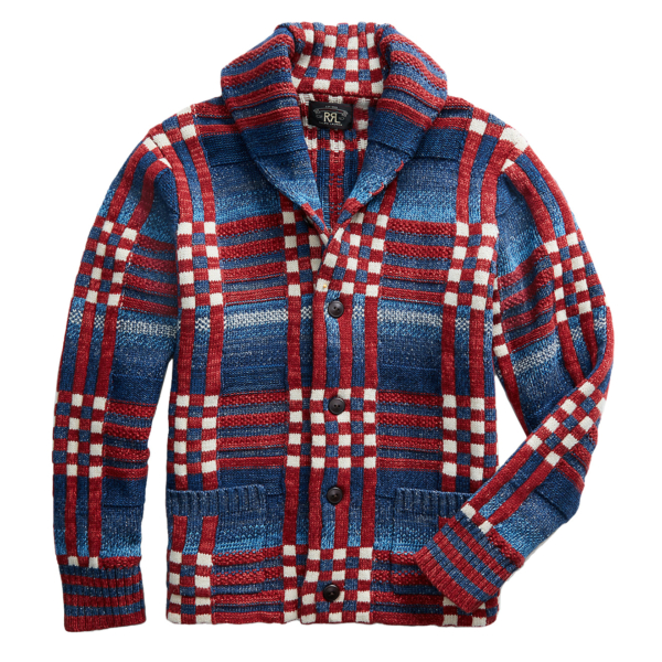 RRL by Ralph Lauren Shawl Cardigan Knitwear Indigo / Red / Cream