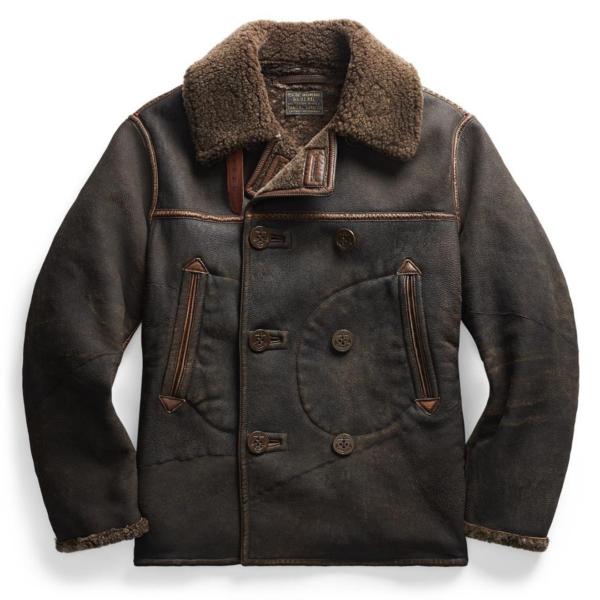 RRL by Ralph Lauren Gambell Peacoat Sheep Shearling Jacket Vintage Black / Brown