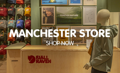 Inside the Manchester Fjallraven Store, multicoloured display of Kanken Classic backpacks.