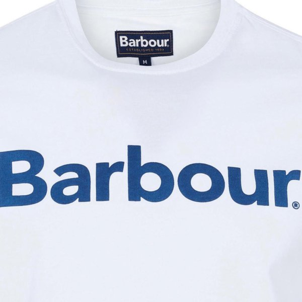 Barbour Logo T-Shirt White Large Logo Chest Graphic