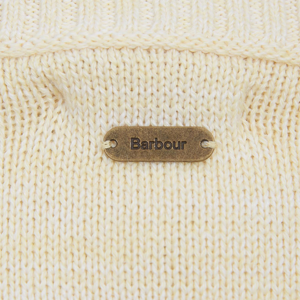 Barbour Womens Sailboat Knit Yellow Haze Metal ID Bar on Centre Back