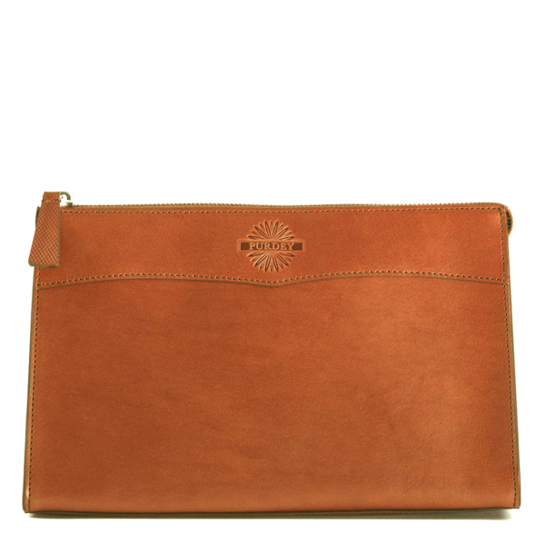 James Purdey Vegetable Tanned Leather Wash Bag Large London Tan