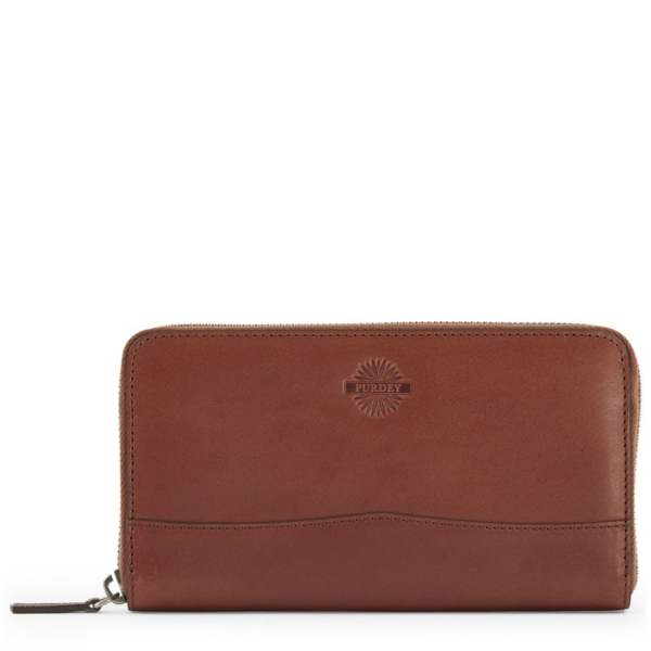 James Purdey Audley Vegetable Leather Continental Wallet Purdey Havana