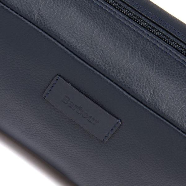 Barbour Compact Leather Wash Bag Navy