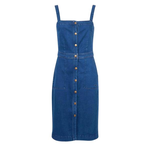 Barbour Womens Darcie Denim Pinafore Dress Authentic Wash