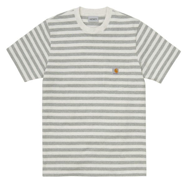 Constructed from a cotton jersey, the Scotty Pocket T-Shirt is a striped tee with clean lines, finished with the classic embroidered Carhartt logo on the chest pocket. Product Information: Regular fit Yarn-dyed Chest pocket Square label Short sleeves White Heather / Grey Heather