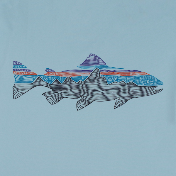 Patagonia LS Capilene Cool Daily Fish Graphic T-Shirt Woodgrain Fitz Roy Trout Fin Blue